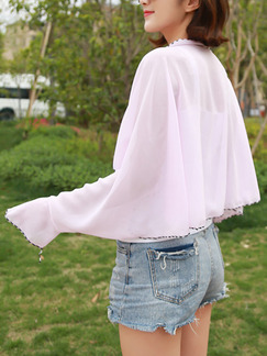 Pink Contrast Linking Cloak Flare Sleeve Band Belt Long Sleeve Polyester Scarf