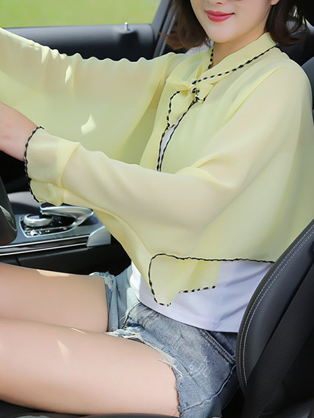 Yellow Contrast Linking Cloak Flare Sleeve Band Long Sleeve Polyester Scarf