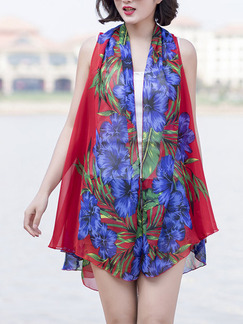 Red and Blue Printed Strapless Cardigan See-Through Polyester Scarf