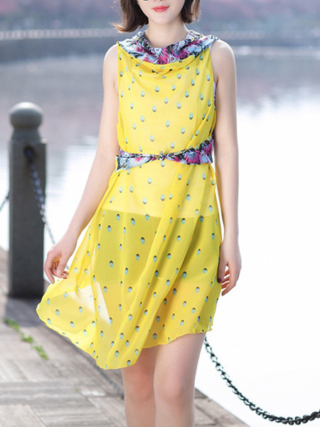 Yellow Printed Strapless Cardigan See-Through Polyester Scarf