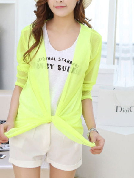 Yellow and Green Loose See-Through Band Sun Protection Coat for Casual Beach