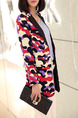Camouflage Loose Printed Lapel Suit Long Sleeve Coat for Casual Office