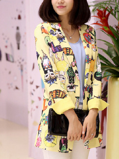 Yellow Colorful Loose Printed Lapel Suit Long Sleeve Coat for Casual