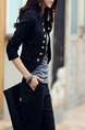 Black Slim Double-Breasted Suit Long Sleeve Coat for Casual Party Office