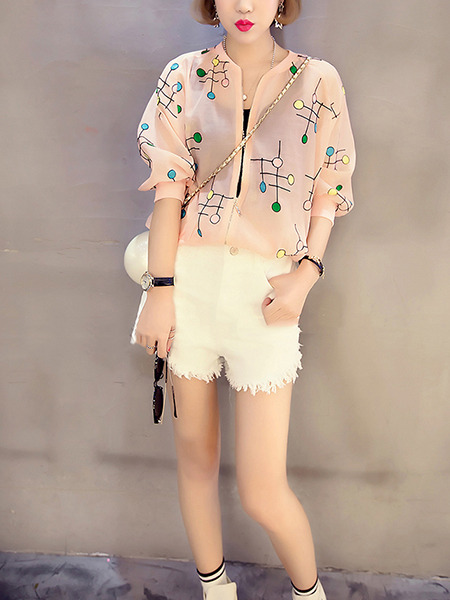 Pink Colorful Loose Printed See-Through Long Sleeve Coat for Casual Party
