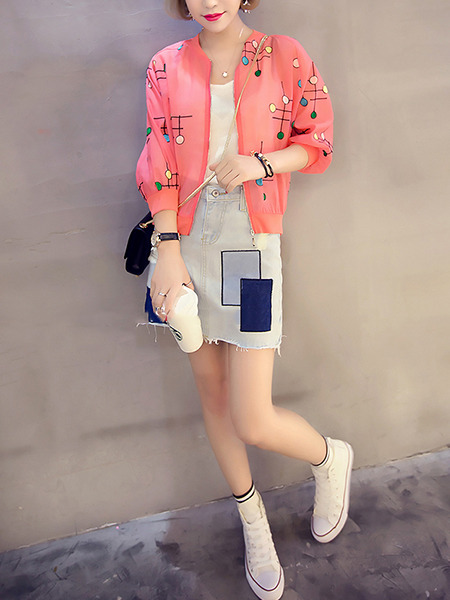 Pink Colorful Loose Printed See-Through Coat for Casual Party