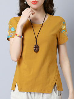 Khaki Slim Embroidery T-Shirt Plus Size Top for Casual