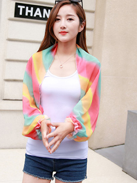 Colorful Loose Stripe See-Through Scarves Long Sleeve Scarf for Casual
