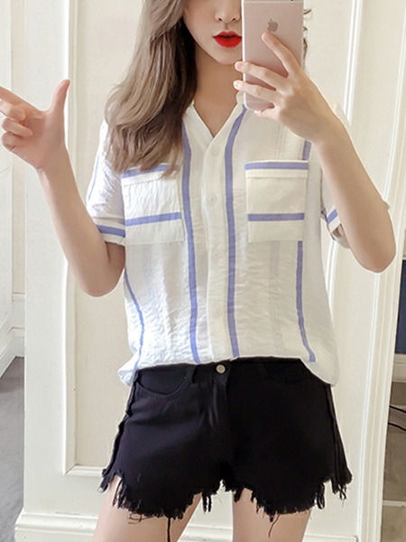 White and Purple Loose Contrast Stripe Shirt Top for Casual Party