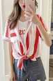 White and Red Loose Contrast Stripe Shirt Top for Casual Party