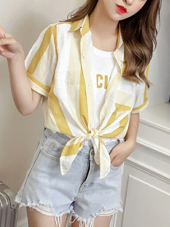 White and Yellow Loose Contrast Stripe Shirt Top for Casual Party
