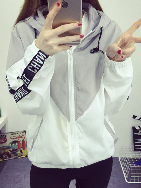 White and Gray Loose Contrast Hooded Long Sleeve Coat for Casual Sports