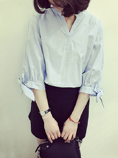 Blue  Loose Stripe Band Shirt V Neck Top for Casual Party