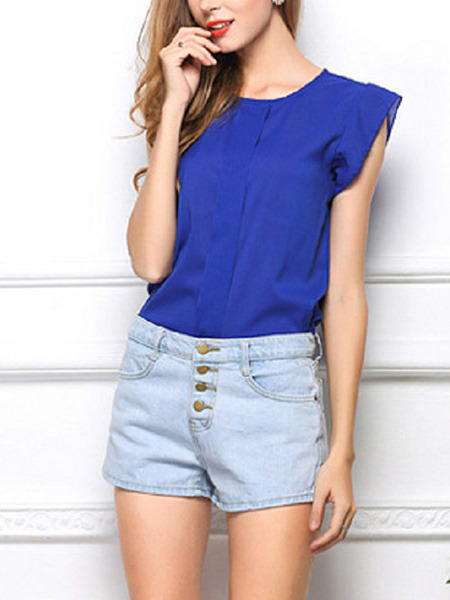 Royal Blue Loose FeiFei Sleeve Shirt Top for Casual Party