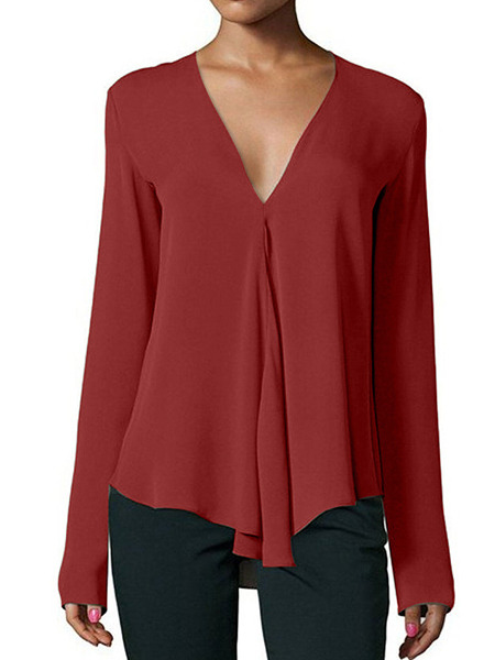 Red Loose V Neck Shirt Long Sleeve Top for Casual Party Office Evening