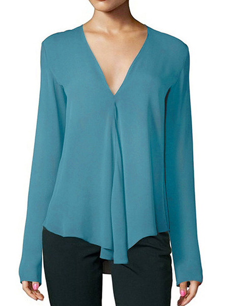 Peacock Blue Loose V Neck Shirt Long Sleeve Top for Casual Party Office Evening