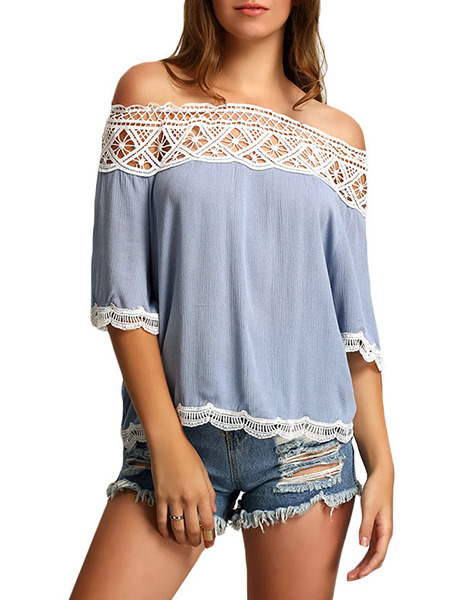 Blue Loose Linking Lace Off-Shoulder Shirt Plus Size Top for Casual Party