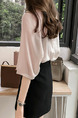 Pink Loose See-Through Shirt V Neck Plus Size Top for Casual Office Party