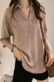 Pink Loose Stripe Shirt V Neck Plus Size Collar Top for Casual Party