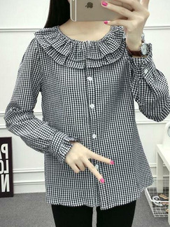 Gray Loose Grid Ruffle Shirt Long Sleeve Plus Size Top for Casual Office Party