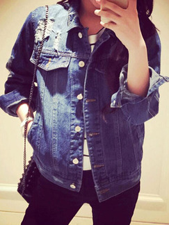 Navy Blue Loose Denim Long Sleeve Collar Buttons Coat for Casual