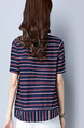 Blue Red and White Loose Stripe T-Shirt Plus Size Top for Casual