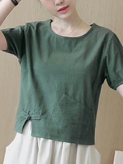 Ink Green Loose  Chinese T-Shirt Top for Casual