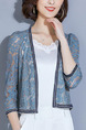 Haze Blue Slim Lace See-Through Coat for Casual Office Party