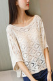 White Loose Knitting Cutout Sweater for Casual Party