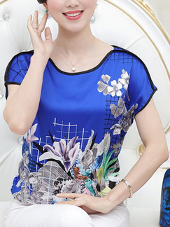 Royal Blue and Colorful Loose Located Printing Blouse Plus Size Floral Top for Casual Party