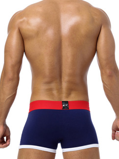Blue White and Red Sports Contrast Linking Boxer Brief Cotton Underwear