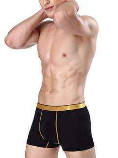 Black and Gold Contrast Linking Boxer Brief Viscose Fiber Underwear