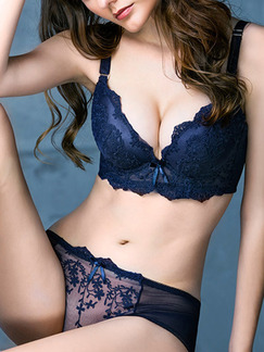 Blue Two-Piece Lace Rim Adjustable Push Up Lace Lingerie Set