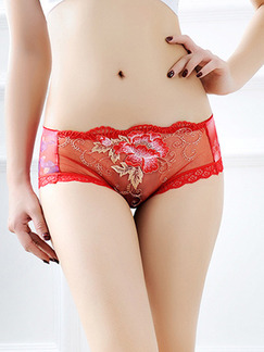 Red Hipster Lace Panties