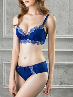 Blue Rim Adjustable Two-Piece Set Everyday Push Up Lace Lingerie Set