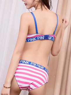 Pink Blue and White Stripe Rim Adjustable Two-Piece Set Everyday Push Up Cotton Lingerie Set