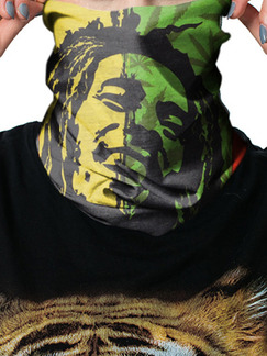 Green Yellow Red and Black Unisex Outdoor Riding Multi-Function Contrast Lacated Printing Polyester and Elasticity Scarves
