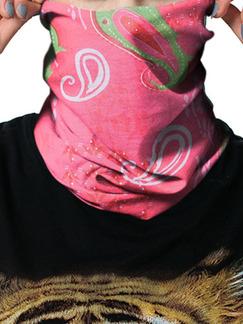 Pink Colorful Unisex Outdoor Riding Multi-Function Located Printing Polyester and Elasticity Scarves