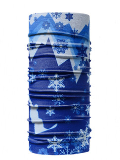 Blue and White Unisex Outdoor Riding Multi-Function Printed Polyester and Elasticity Scarves