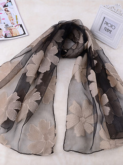 Black and Beige Women Cut Flowers See-Through Polyester Scarves