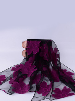 Black and Violet Women Cut Flowers See-Through Polyester Scarves