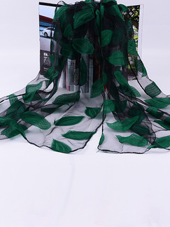 Black and Green Women Cut Flowers See-Through Polyester Scarves