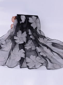 Black and Grey Women Cut Flowers See-Through Polyester Scarves