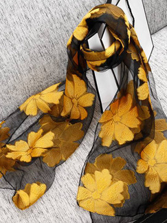 Black and Yellow Women Cut Flowers See-Through Polyester Scarves