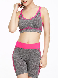 Grey and Pink Women Yoga Fitness Contrast Linking  Shorts for Sports Fitness