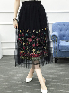 Black Colorful Loose Linking Mesh A-Line Embroidery Adjustable Waist Skirt for Casual Party