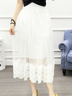 White Loose A-Line Linking Lace See-Through Adjustable Waist High Waist Skirt for Casual Party