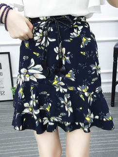 Blue Slim Printed Fishtail Band Belt High Waist Floral Skirt for Casual Party