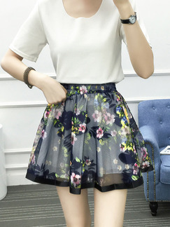 Blue Colorful Slim A-Line Printed High Waist Adjustable Waist Skirt for Casual Party