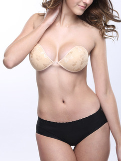 Beige Lace Breathable Invisible Gather Buckle Bra